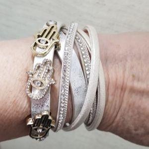 Wrap around rhinestone hamsa jeweled bracelet